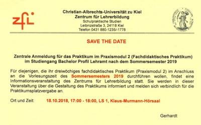 Hinweis auf ZfL-Infoveranstaltung am 18.10.2018 - zentrale Anmeldung für das Praktikum im Praxismodul 2 nach dem SoSe 2019
